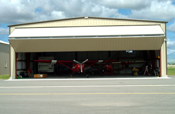 Rectangular airplane storage with a Bi-fold door